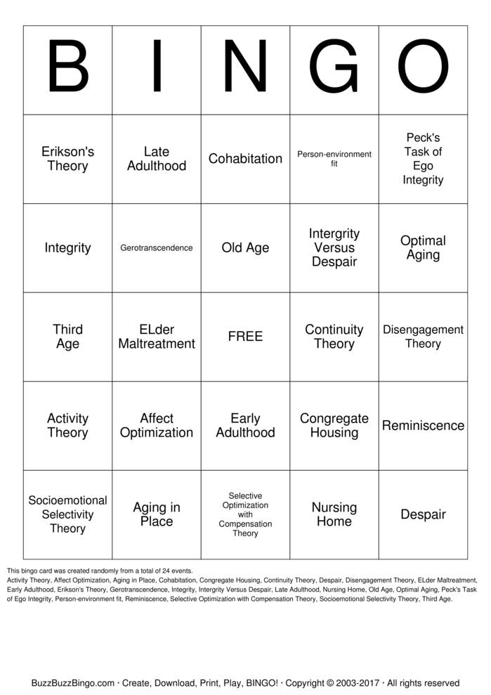 Late Adulthood Bingo Cards to Download, Print and Customize!