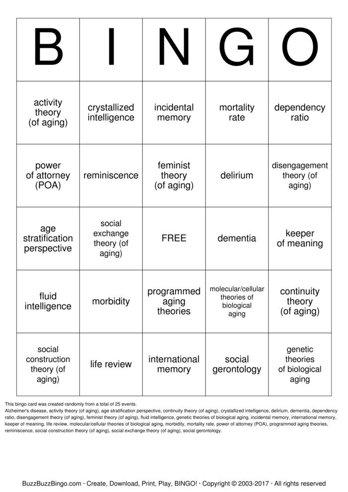 Late Adulthood Chapter 9 Bingo Cards to Download, Print and Customize!