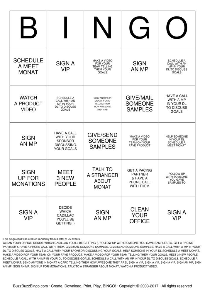 MONAT Bingo Cards to Download, Print and Customize!