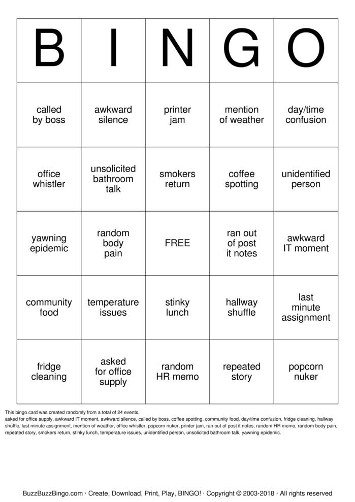 Office Bingo Cards to Download, Print and Customize!