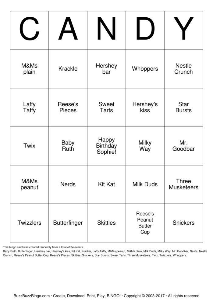 plain bingo card
