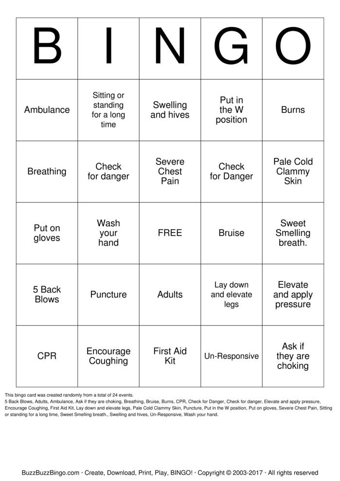 First Aid Bingo Bingo Cards to Download, Print and Customize!