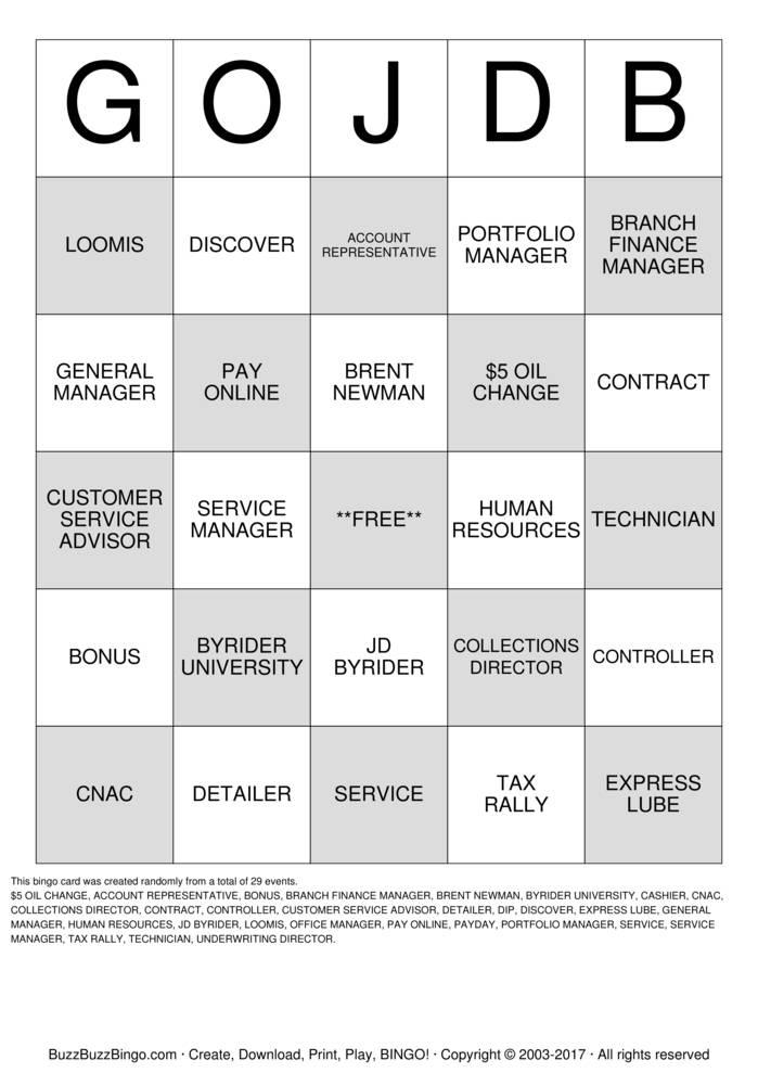JD BYRIDER SAN ANTONIO Bingo Cards to Download, Print and Customize!