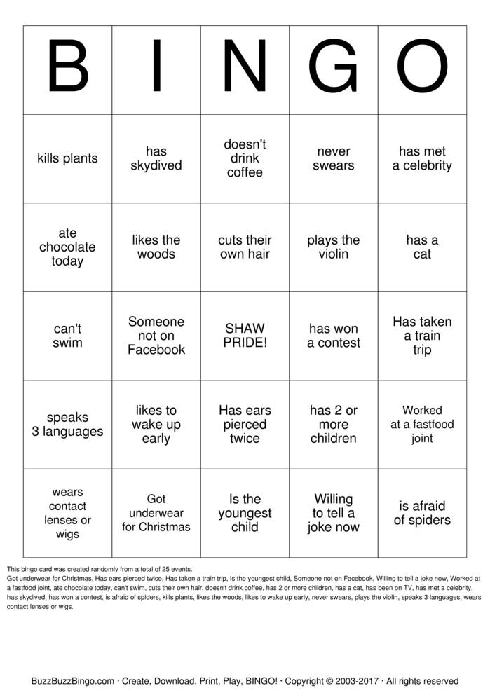 People Bingo Bingo Cards to Download, Print and Customize!