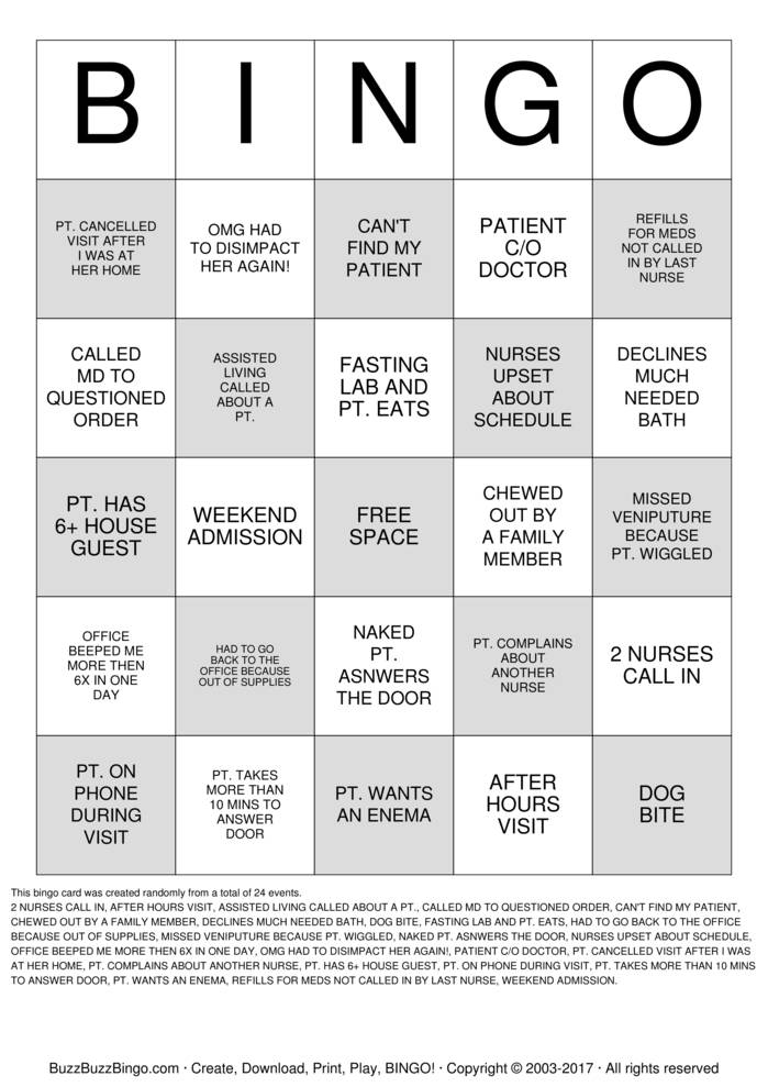 Nurse Bingo Cards to Download, Print and Customize!