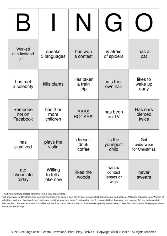 People Bingo Bingo Cards to Download, Print and Customize!