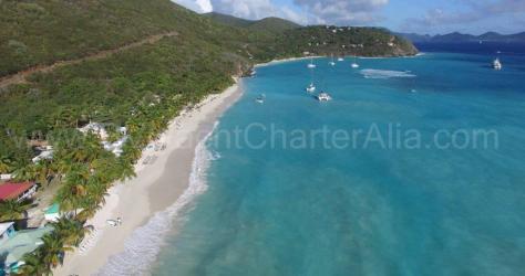 Drone view White Bay Jost Van Dyke BVI yacht charter Caribbean