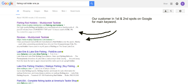 1st On Google Search - Another Keyword