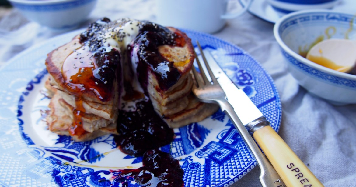 Gluten Free Banana Pancakes with Blueberry Sauce, Simple & sugar free recipe over on The Rosedog Blog, www.therosedogblog.me