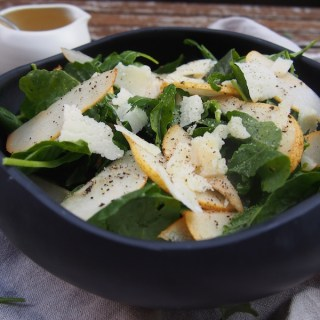 Pear and Parmesan Baby Kale Salad, Recipes by Rosie over on www.therosedogblog.me