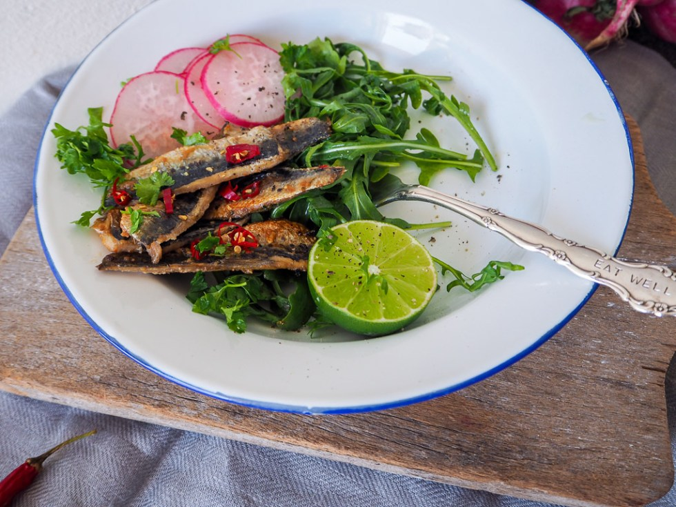 Grilled Sardine Rocket & Radish Salad, Recipes By Rosie, www.by-rosie.com