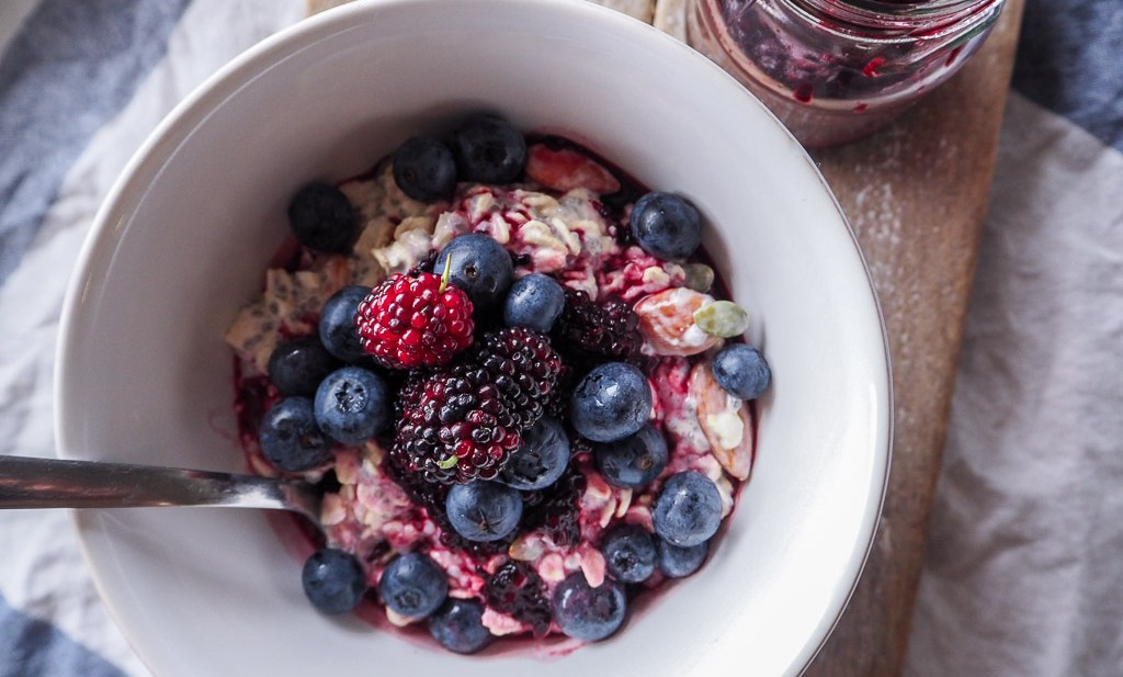 Overnight Chia Oats with Mulberry Compote, recipe By Rosie, over on www.by-rosie.com