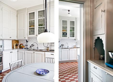 Platsbyggt kök i orginalstil av Möllansverkstäder i Malmö (20-tal - küchen im retro stil