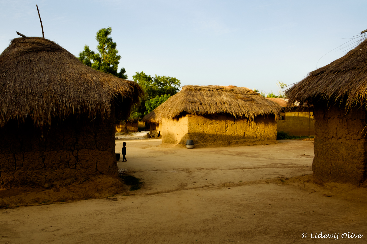 clay houses in a tiny village in Ghana
