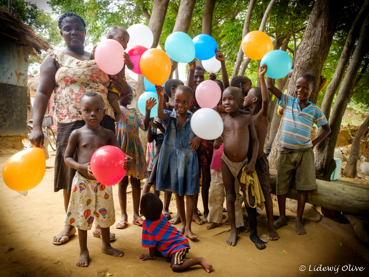 happy with balloons