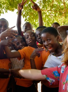 making friends with a school class in Accra, Ghana