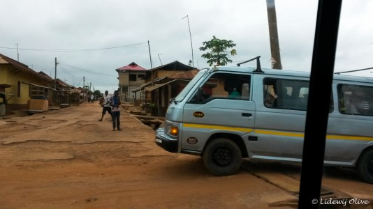 trotro on bad road