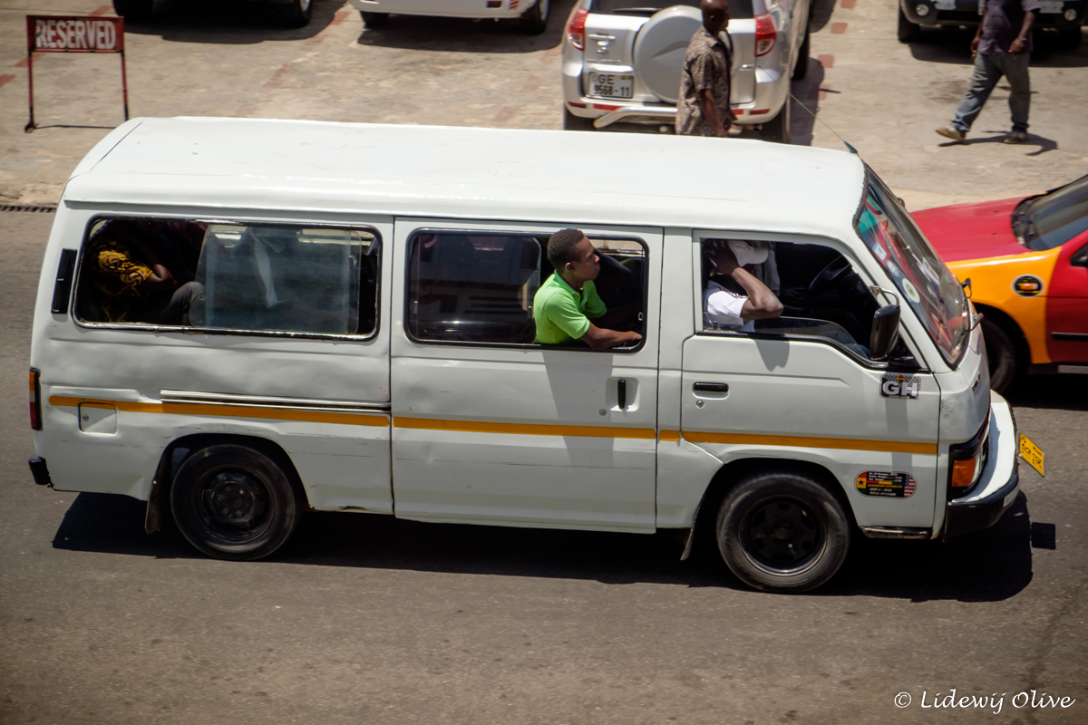 typical trotro in Ghana