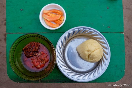 Banku with hot pepper soup
