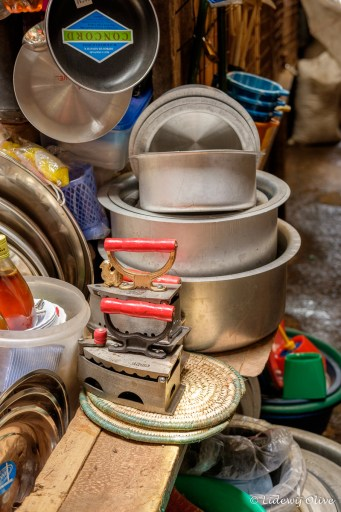 The market in Arusha: selling old school irons