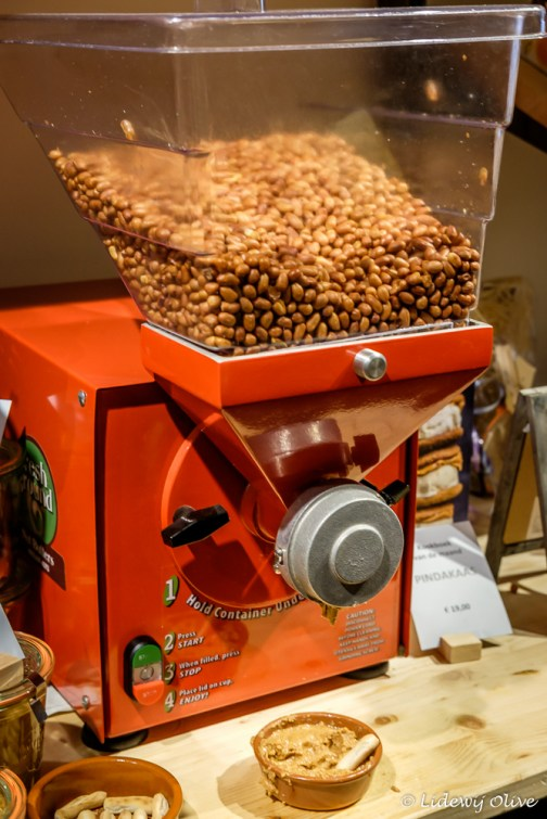 A machine to make peanut butter. It is like an icecream machine, very cool!