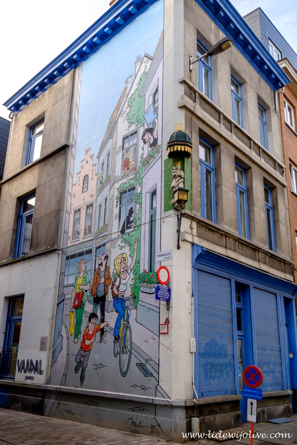 Street art of a famous Belgium comic book character