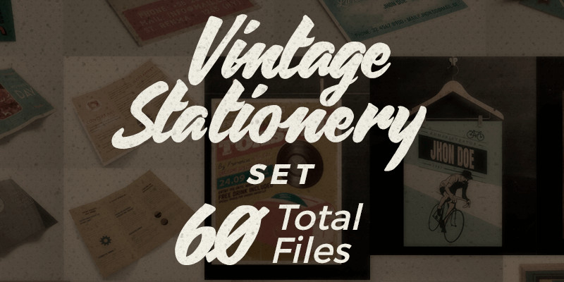 60 Vector AI Vintage Stationery Elements Bypeople