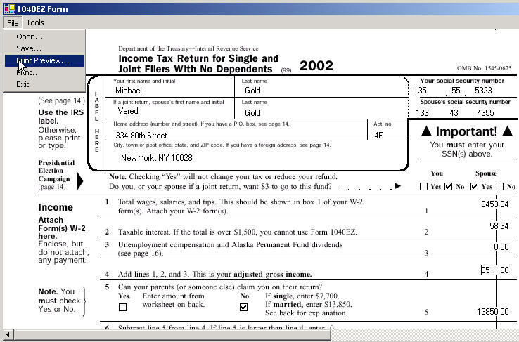 Filling out your 1040EZ Tax Form in NET