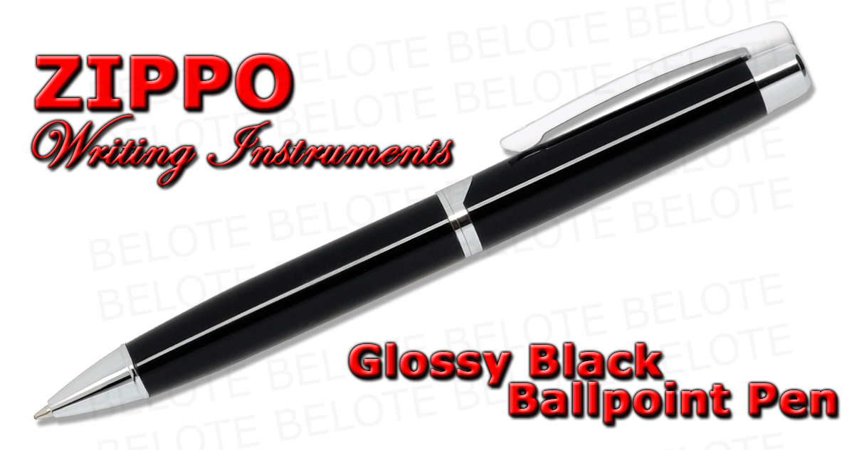 Zippo Glossy Black Ballpoint Pen Twist Action 41117 New