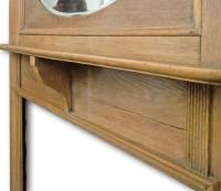 Tall 1920s fireplace mantel in Oak with oval mirror ...