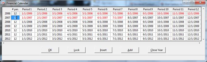 21st Century Accounting - Configure Financial Calendar