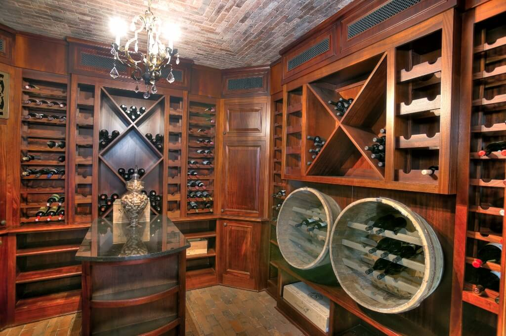 Wine Cellar Reclaimed Barrels Brick Ceiling Custom