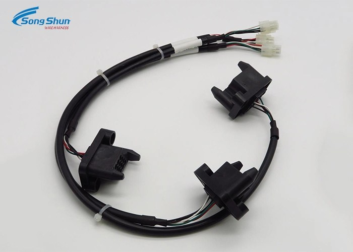 20AWG Black Custom Wiring Harness , 12 Pin Connector Wire Harness