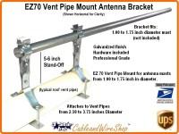 Antenna Mast Vent Pipe Mount Bracket 2.5-3.75 OD EZ 70