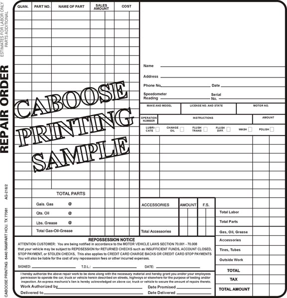 Repair Order Form \u2013 AG218/2 \u2013 package of 100 Caboose Printing - repair order form