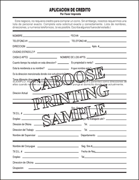 Spanish Credit Application \u2013 AD01S \u2013 package of 100 Caboose Printing - credit application