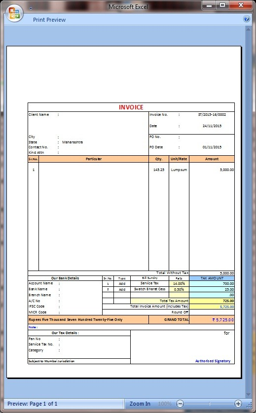 New service tax invoice with swatchh bharat cess in excel-2007+