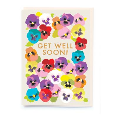 Pansies Get Well Soon Card - Cad-eau Online - get well soon card