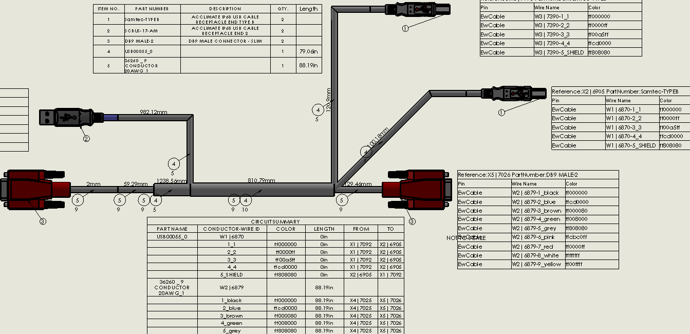 wire harness documentation solidworks