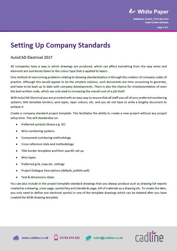 AutoCAD Electrical 2017 - Setting Up Company Standards \u2013 Cadline