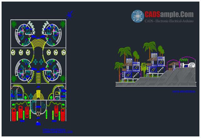 Recreational Center Bungalow Hotel House Plan Dwg Free » CADSampleCom