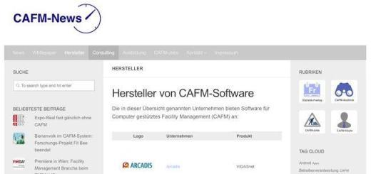 Die Übersicht der CAFM-Hersteller auf CAFM-News ist jetzt um die dazu gehörigen Produktnamen erweitert