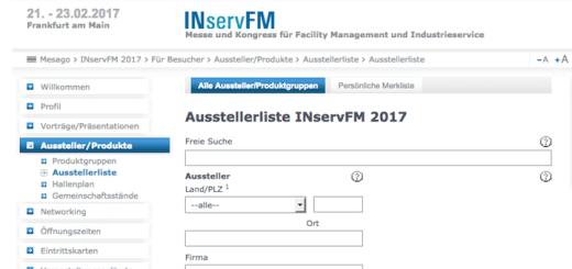 Aktuell haben sich 57 Unternehmen als Aussteller zur INservFM 2017 angemeldet