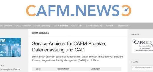 Die CAFM-News bieten ab sofort auch eine Rubrik für CAFM-Service-Anbieter