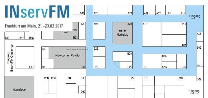 Der blaue Teppich und sein Umfeld werden bei der INservFM 2017 mit 23 Ausstellern zu CAFM- und benachbarten Software-Themen aufwarten können