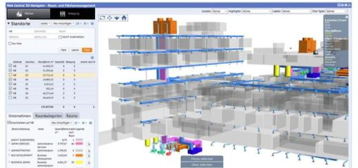 IM Archibus 3D-Viewer sind CAFM- udn BIM-Daten integriert dargestellt