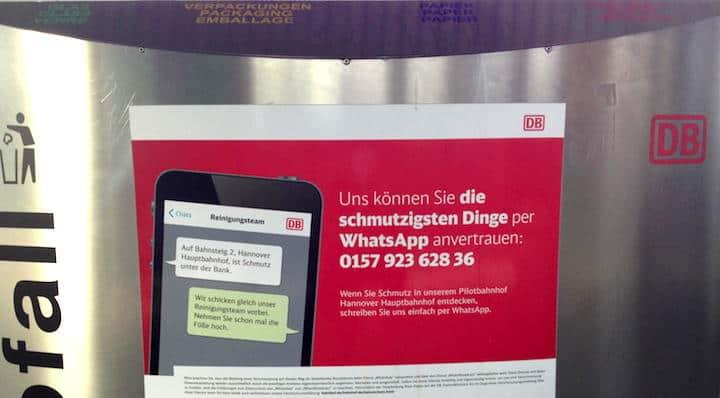 An Wartebreichen und wie hier auf Abfallbehältern – die Bahn hat auf Hannovers Hauptbahnhof zahlreiche Hinweis-Aufkleber angebracht