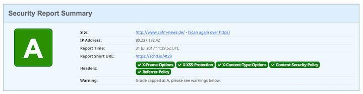 Für die korrekte Darstellung der CAFM-News in allen Browsern mussten wir zwei Einstellungen ändern und erhalten nun ein A