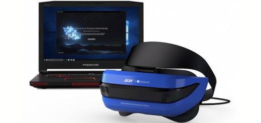 Blau: Acer wählt für seine Microsoft Mixed Reality Brille ein blaues Gehäuse, sonst ist sie technisch mit den übrigen Angeboten im Markt weitestgehend identisch