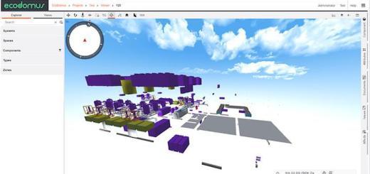Auf die 3D-Visualisierung von Ecodomus kann Vitricon von EBCsoft ebenso wie auf die übrigen Daten des Ecodomus BIM-Modells zugreifen